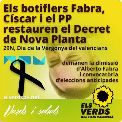 Els botiflers Fabra, Císcar i el PP restauren el Decret de Nova Plant