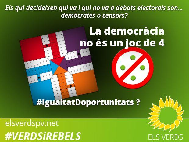 Els Verds reclamen debats en igualtat d'oportunitats per a totes les candidatures