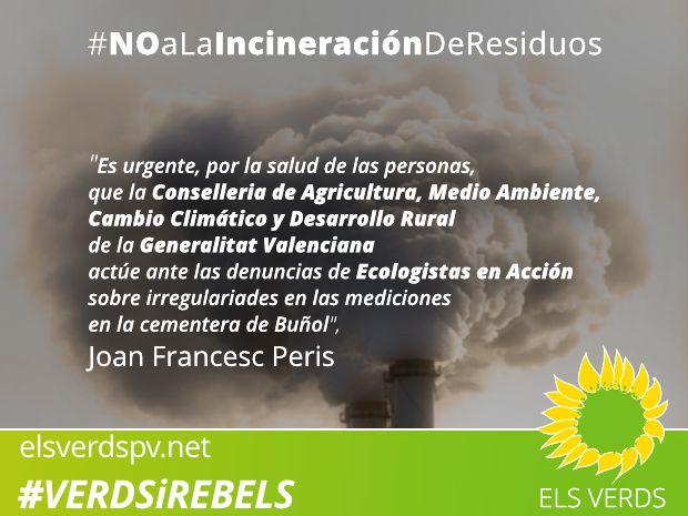 Los Verdes exigimos a la Conselleria de Medio Ambiente respuesta ante preocupante informe de Ecologistas en Acción sobre irregularidades en mediciones en la fábrica de cemento de Buñol