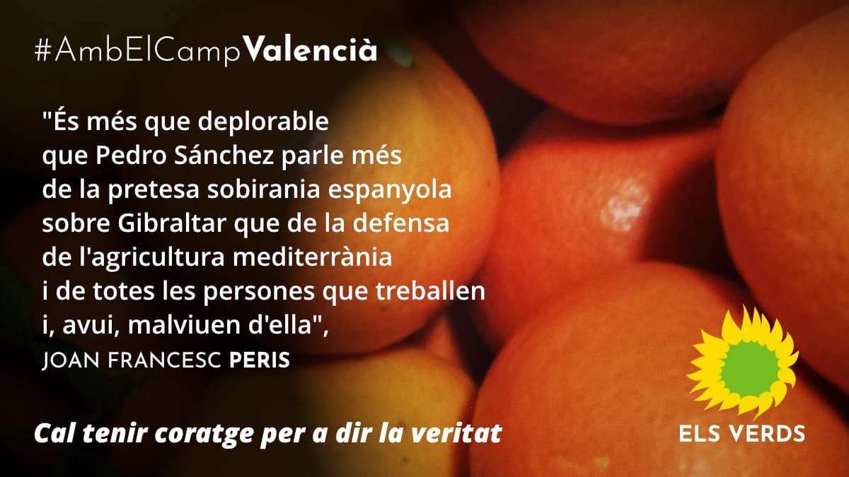 14D: Els Verds recolzen i consideren més que justificades les mobilitzacions del sector agrícola valencià